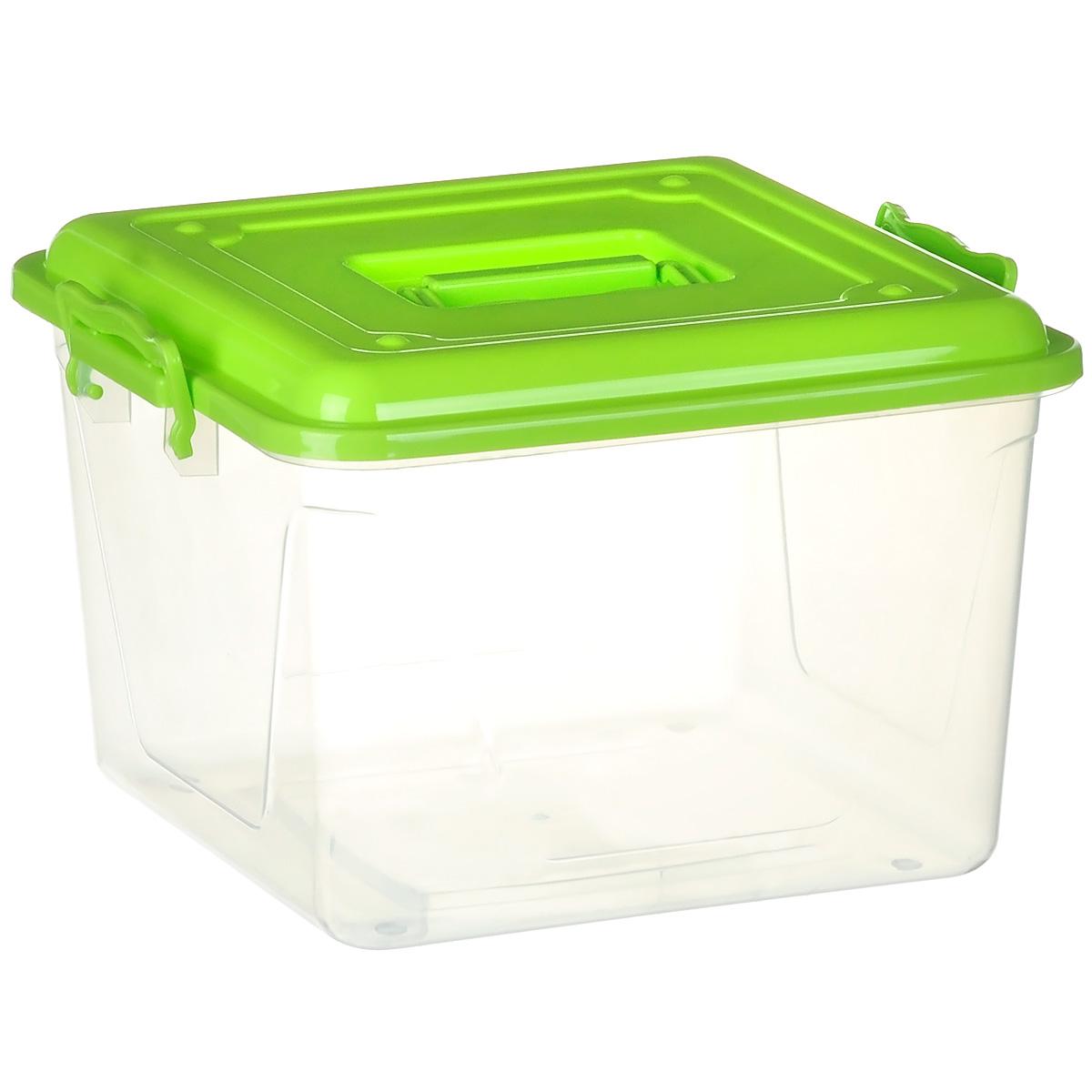 Контейнер Альтернатива, цвет: салатовый, прозрачный, 15 лМ1023Контейнер Альтернатива выполнен из прочного цветного пластика ипредназначен для хранения различных бытовых вещей и продуктов.Контейнер оснащен по бокам ручками, которые плотно закрывают крышку контейнера. Также на крышке имеется ручка для удобной переноски. Контейнер поможет хранить все в одном месте и защитить вещи от пыли, грязи и влаги.