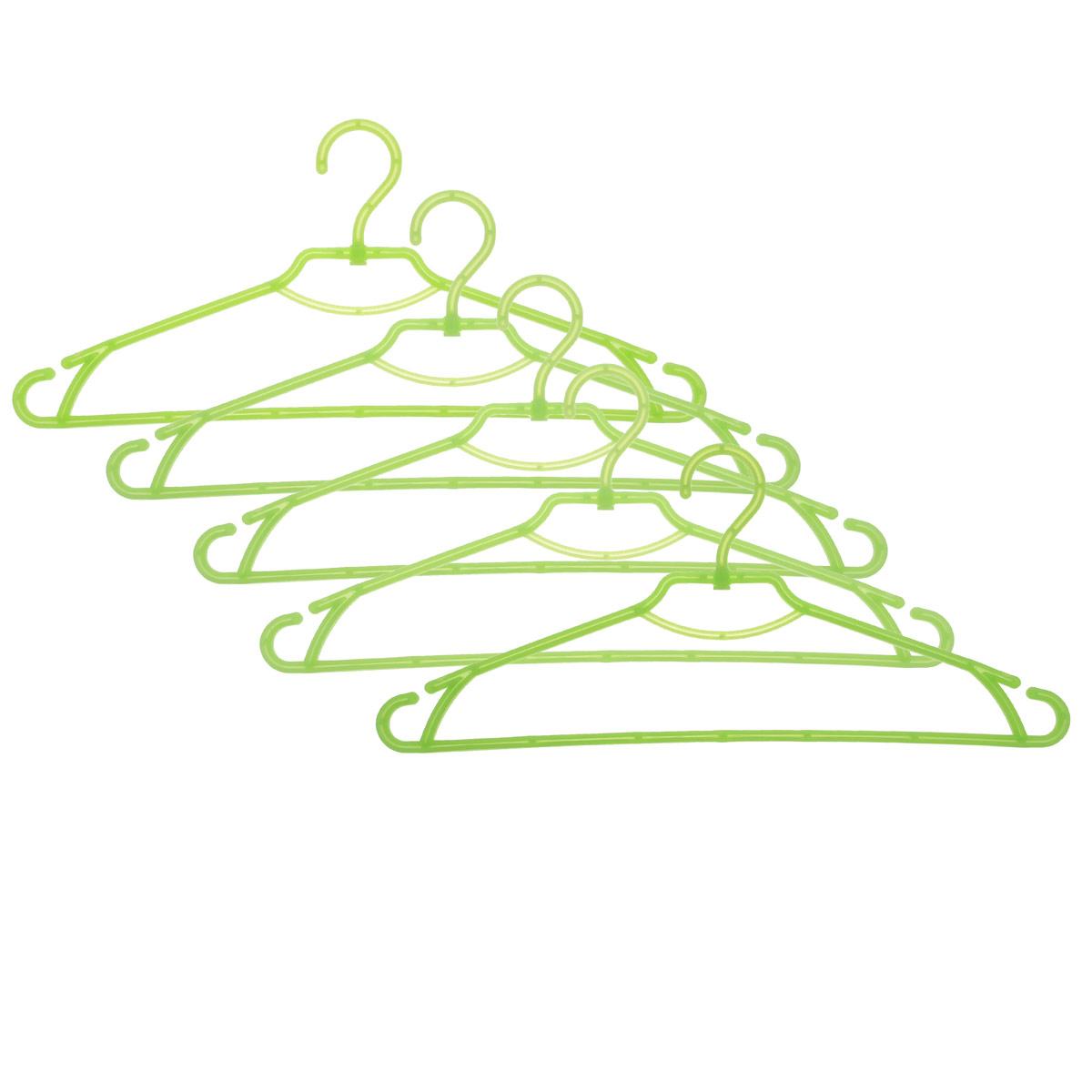 Набор вешалок Алеана, с перекладиной, с крючками, цвет: зеленый, 5 шт121073Набор вешалок Алеана выполнен из полипропилена. Изделия оснащены перекладинами и крючками. Вешалка - это незаменимая вещь для того, чтобы ваша одежда всегда оставалась в хорошем состоянии.Комплектация: 5 шт.