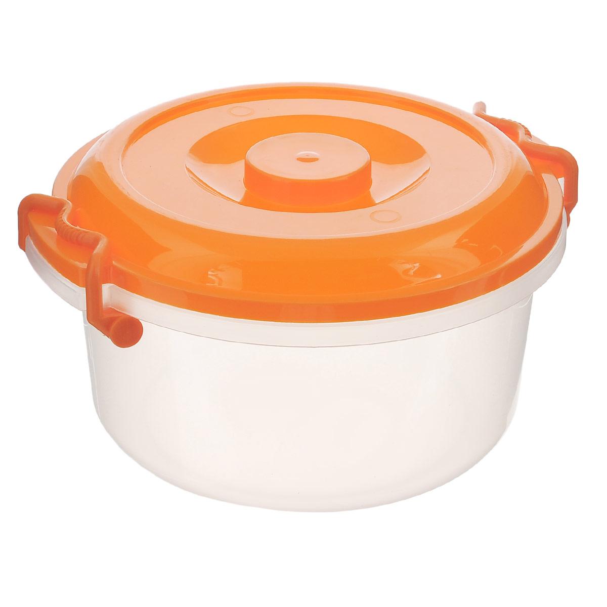 Контейнер Альтернатива, цвет: оранжевый, 5 лМ097Контейнер Альтернатива изготовлен из высококачественного пищевого пластика. Изделие оснащено крышкой и ручками, которые плотно закрывают контейнер. Также на крышке имеется ручка для удобной переноски. Емкость предназначена для хранения различных бытовых вещей и продуктов.Такой контейнер очень функционален и всегда пригодится на кухне. Диаметр контейнера (без учета крышки): 25 см. Высота стенок: 13,5 см. Объем: 5 л.