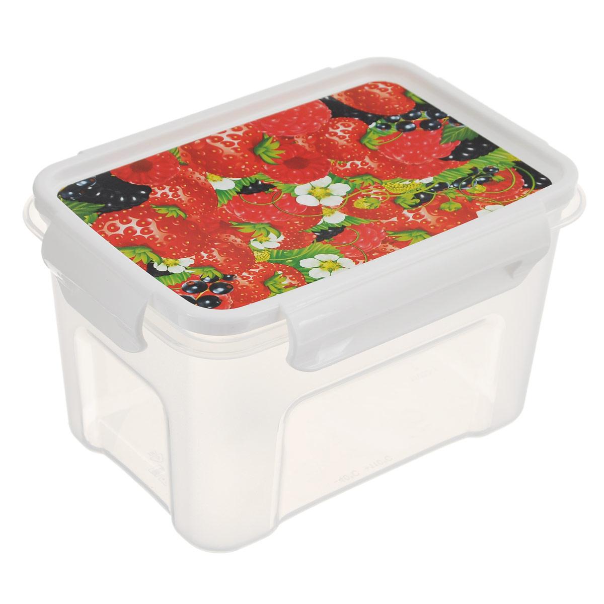 Контейнер Полимербыт Лок декор. Ягоды, цвет: прозрачный, 1,1 лС76201Контейнер Полимербыт Лок декор прямоугольной формы, изготовленный из прочного пластика, предназначен специально для хранения пищевых продуктов. Крышка, декорированная изображением ягод, легко открывается и плотно закрывается. Контейнер устойчив к воздействию масел и жиров, легко моется. Прозрачные стенки позволяют видеть содержимое. Контейнер имеет возможность хранения продуктов глубокой заморозки, обладает высокой прочностью.Можно мыть в посудомоечной машине. Подходит для использования в микроволновых печах.