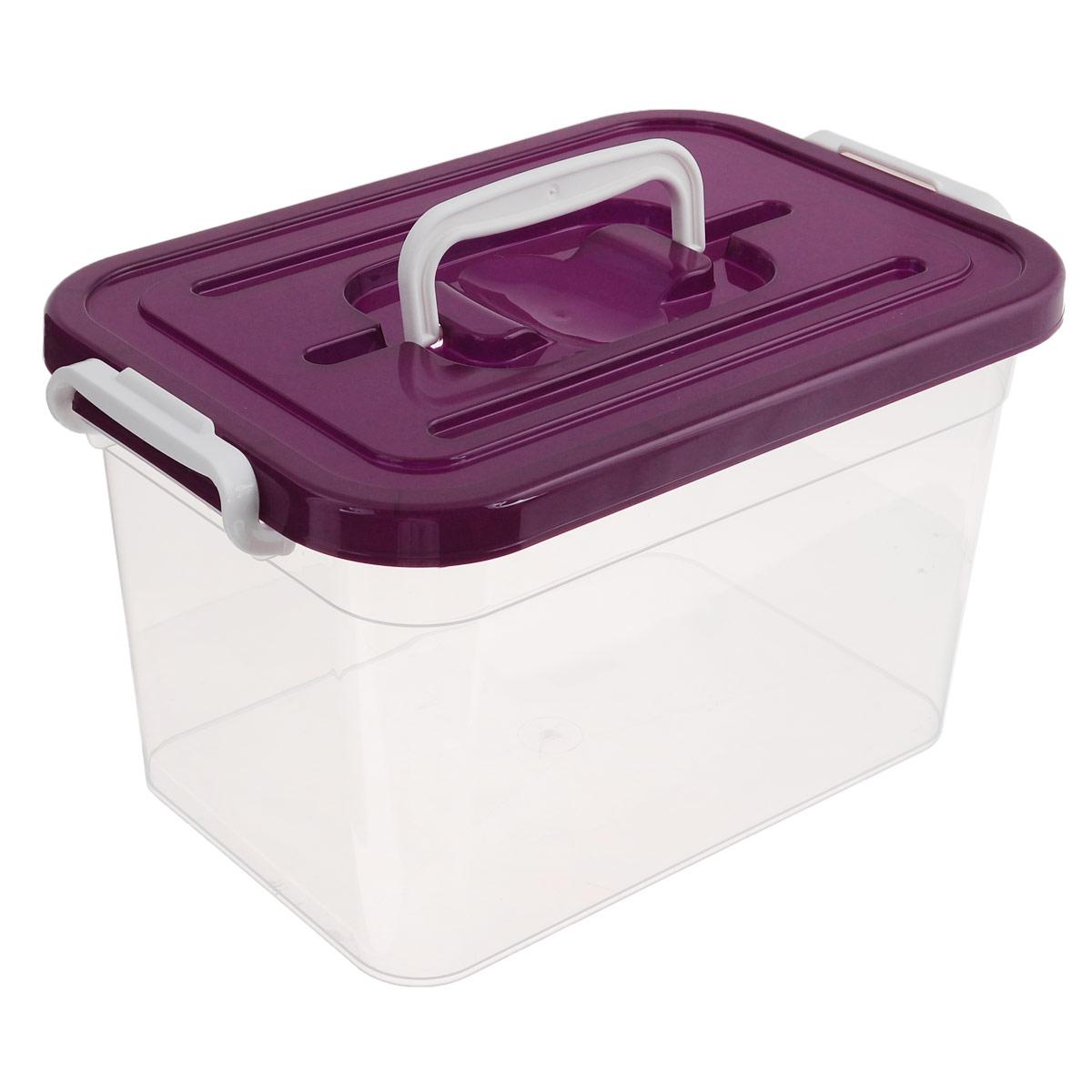 Контейнер для хранения Полимербыт, цвет: бордовый, 10 лС810Контейнер для хранения Полимербыт выполнен из высококачественного пищевого пластика. Контейнер снабжен удобной ручкой и двумя пластиковыми фиксаторами по бокам, придающими дополнительную надежность закрывания крышки. Вместительный контейнер позволит сохранить различные нужные вещи в порядке, а герметичная крышка предотвратит случайное открывание, защитит содержимое от пыли и грязи. Объем: 10 л.