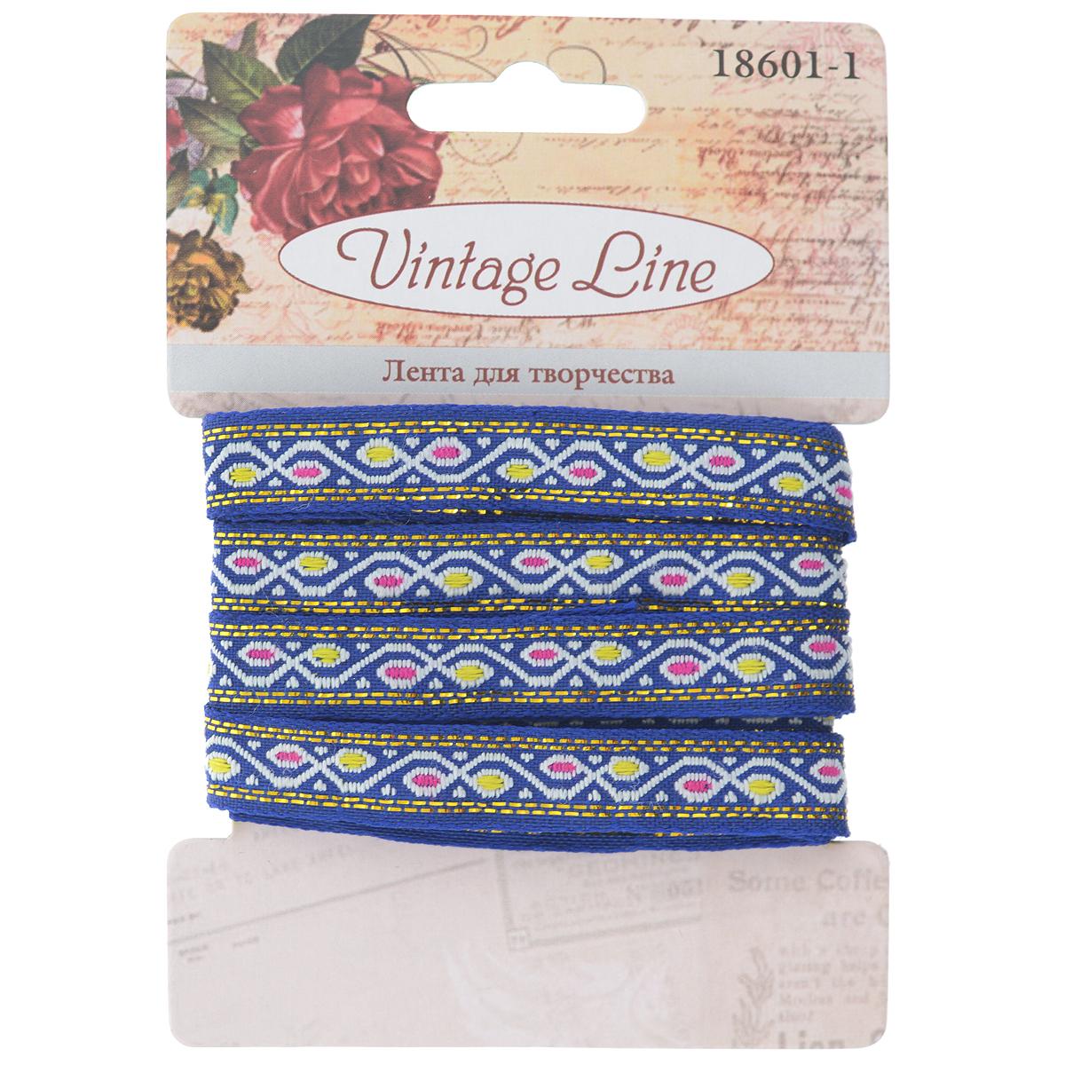 Лента декоративная Vintage Line, цвет: синий, 1 х 200 см7709649Декоративная лента Vintage Line выполнена из текстиля и оформлена оригинальным узором. Такая лента идеально подойдет для оформления различных творческих работ таких, как скрапбукинг, аппликация, декор коробок и открыток и многое другое.Лента наивысшего качества практична в использовании. Она станет незаменимым элементом в создании рукотворного шедевра. Ширина: 1 см.Длина: 2 м.