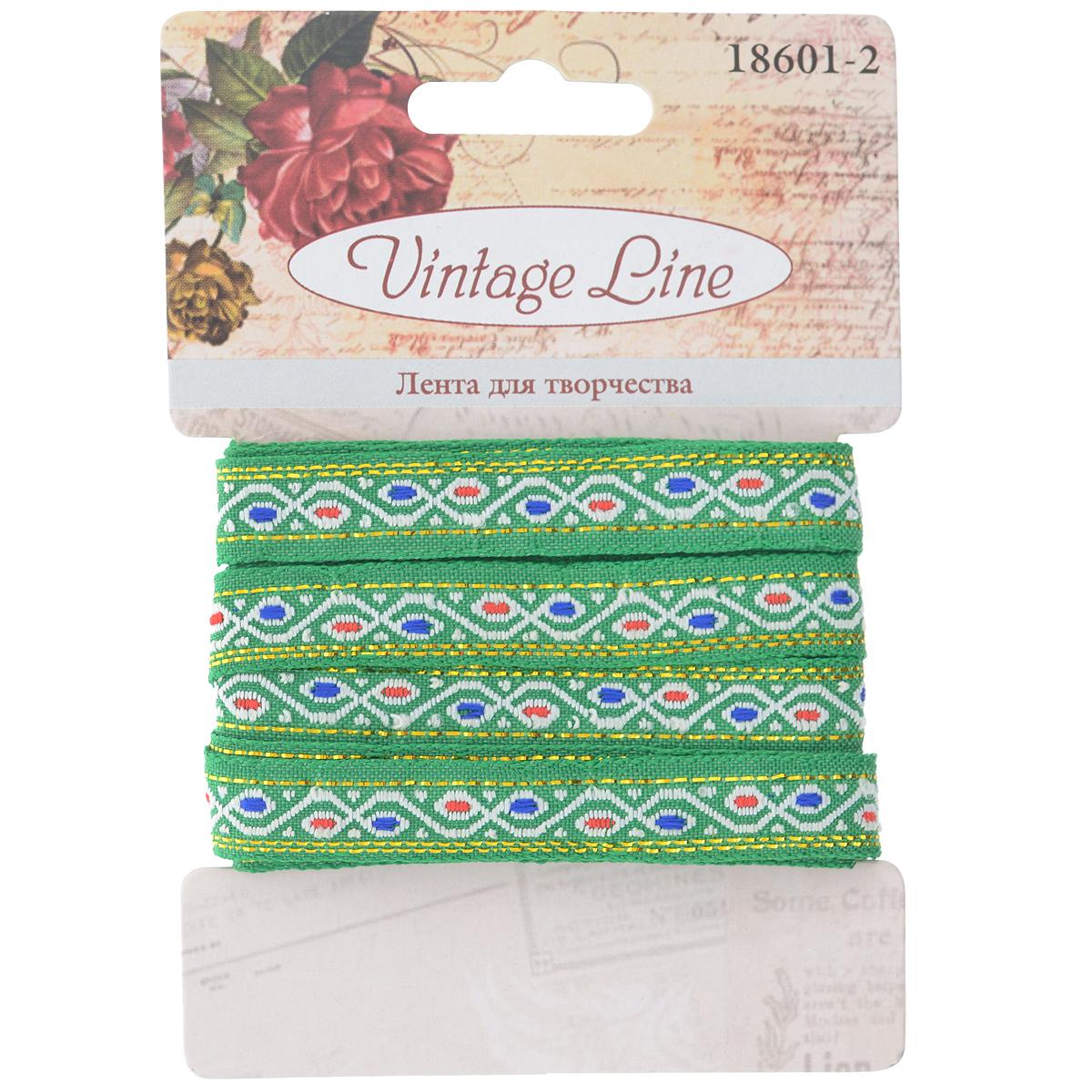 Лента декоративная Vintage Line, цвет: зеленый, 1 х 200 см7709650Декоративная лента Vintage Line выполнена из текстиля и оформлена оригинальным узором. Такая лента идеально подойдет для оформления различных творческих работ таких, как скрапбукинг, аппликация, декор коробок и открыток и многое другое.Лента наивысшего качества практична в использовании. Она станет незаменимым элементом в создании рукотворного шедевра. Ширина: 1 см.Длина: 2 м.
