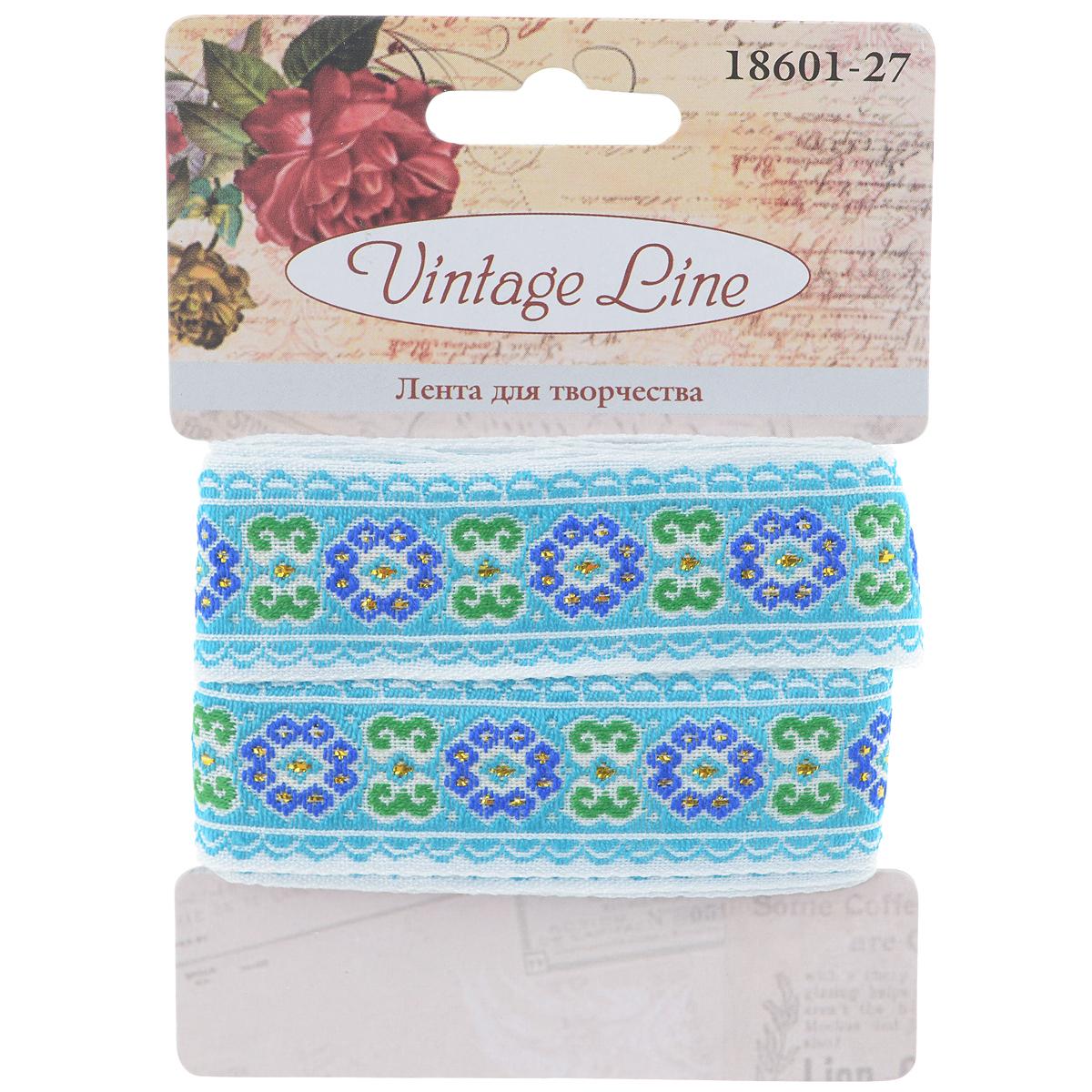 Лента декоративная Vintage Line, цвет: голубой, 2,2 х 150 см 77096757709675Декоративная лента Vintage Line выполнена из текстиля и оформлена вышитыми цветками. Такая лента идеально подойдет для оформления различных творческих работ таких, как скрапбукинг, аппликация, декор коробок и открыток и многое другое.Лента наивысшего качества практична в использовании. Она станет незаменимым элементом в создании рукотворного шедевра. Ширина: 2,2 см.Длина: 1,5 м.