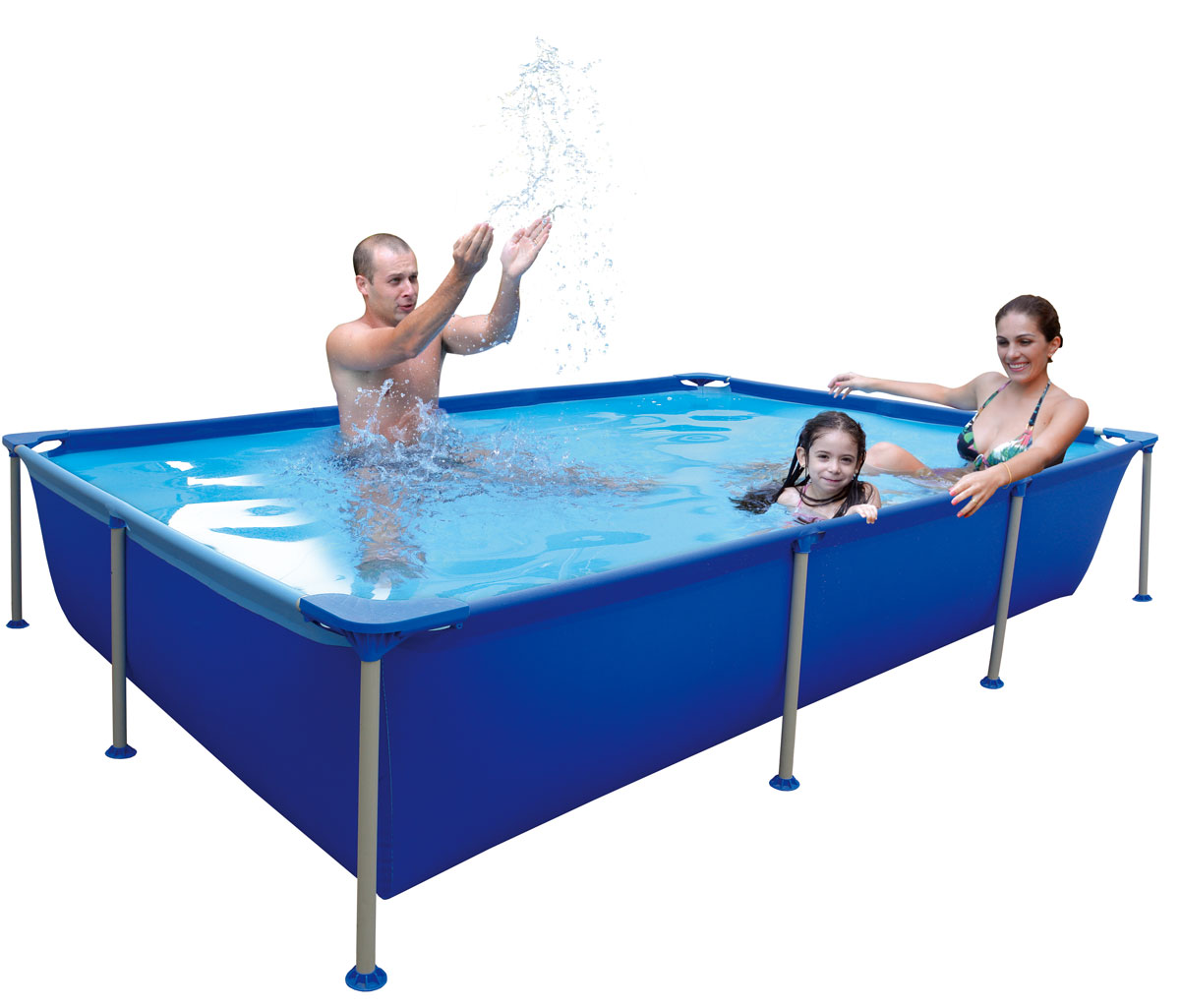 Бассейн каркасный Jilong Rectangular, семейный, цвет: голубой, 258 см х 179 см х 66 см бассейн надувной jilong figure 8 175 х 109 х 46 см