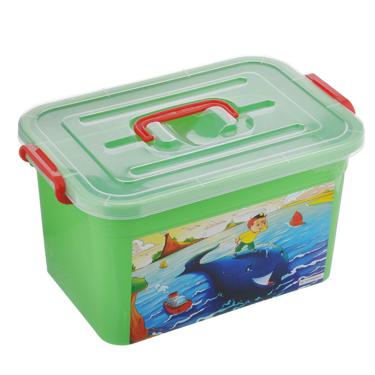 Ящик для игрушек Полимербыт Радуга, цвет: зеленый, 10 л. С81001С81001Ящик для игрушек Полимербыт Радуга выполнен из высококачественного цветного пластика. Для удобства переноски сверху имеется ручка. Контейнер декорирован красочным изображением. Ящик плотно закрывается крышкой с защелкой. Ящик для игрушек Полимербыт Радуга очень вместителен и поможет вам хранить все необходимое в одном месте.