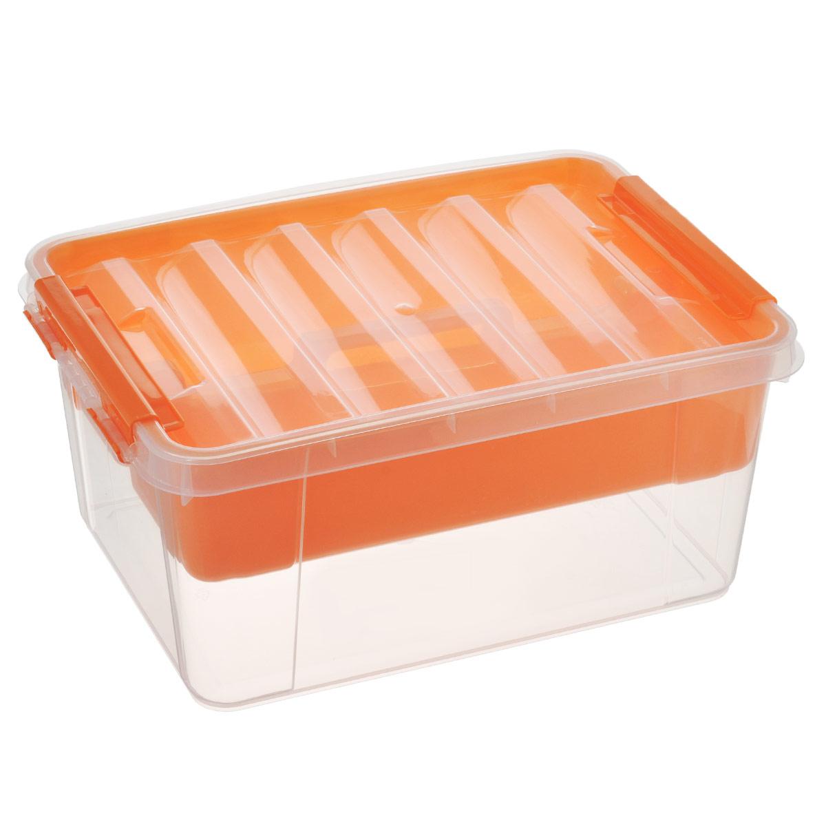 Ящик Полимербыт Профи, с вкладышем, цвет: оранжевый, 15 лС50801Вместительный ящик Полимербыт Профи выполнен из прозрачного пластика и предназначен для хранения различных предметов. Ящик оснащен удобной крышкой с рельефной поверхностью. Внутри ящика имеется съемный вкладыш с двумя глубокими секциями. Контейнер снабжен двумя пластиковыми фиксаторами по бокам, придающими дополнительную надежность закрывания крышки. Вместительный контейнер позволит сохранить различные нужные вещи в порядке, а герметичная крышка предотвратит случайное открывание, защитит содержимое от пыли и грязи.Размер внутренних секций: 36,5 см х 12,5 см х 9 см.Объем: 15 л.