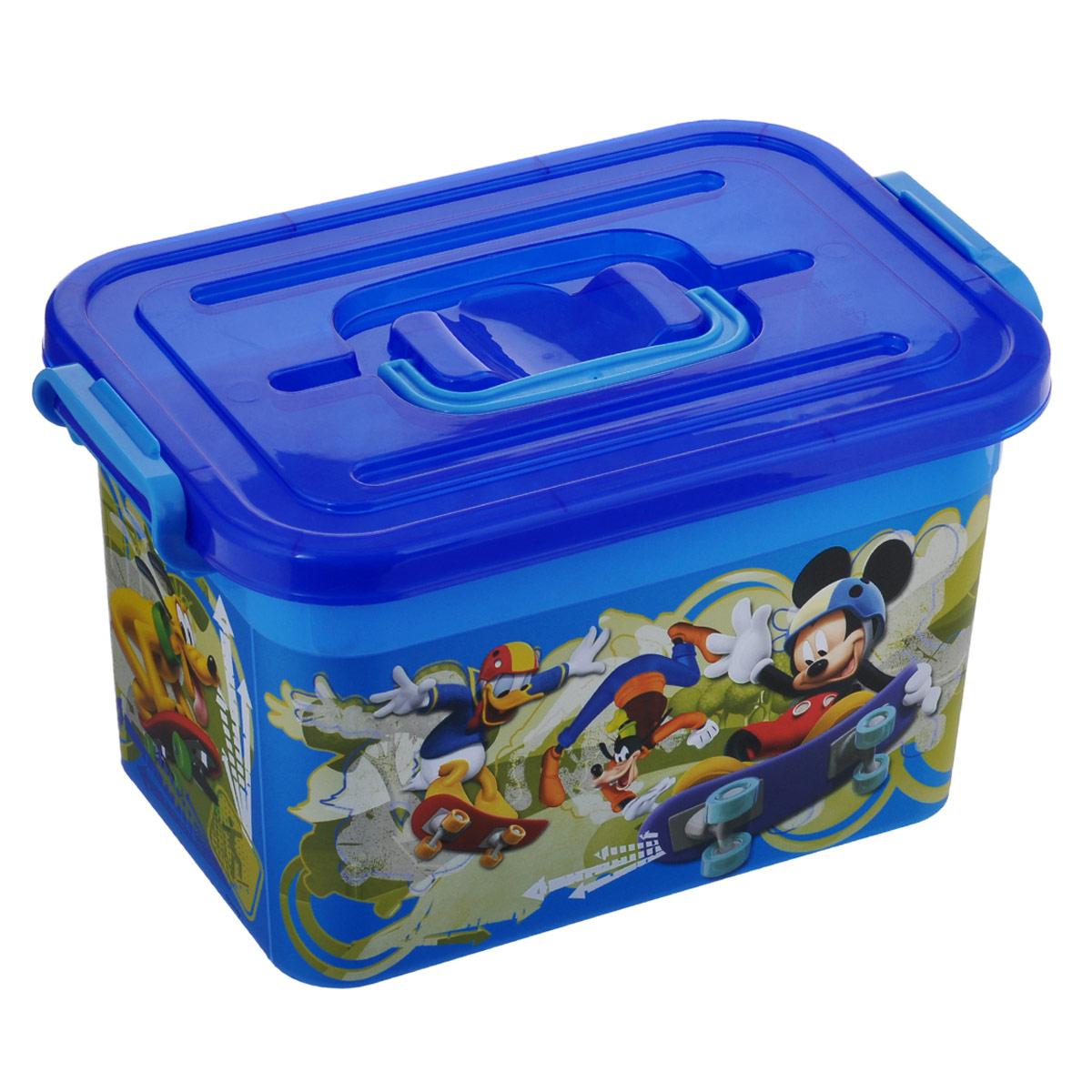 Ящик для игрушек Полимербыт Микки Маус, цвет: синий, 6,5 л ящик для игрушек полимербыт микки маус цвет синий 6 5 л