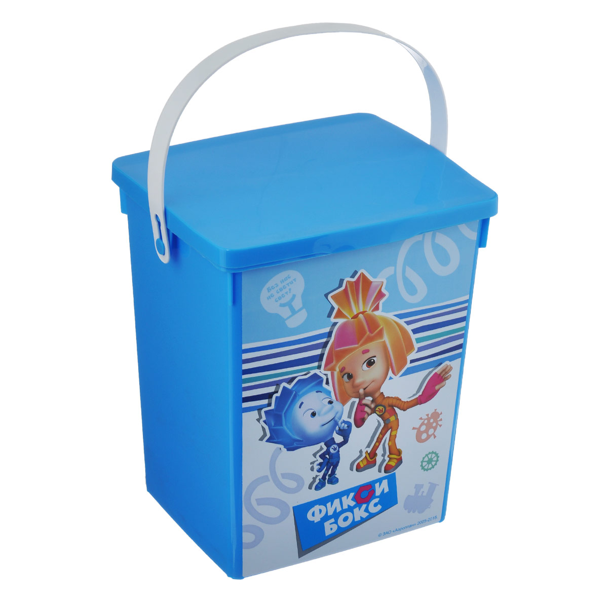 Контейнер для игрушек Полимербыт Фиксики, цвет: голубой, 5 лС49322Контейнер Полимербыт Фиксики выполнен из высококачественного цветного пластика и предназначен для хранения небольших игрушек. Контейнер декорирован красочным изображением героев одноименного мультика Фиксики. Для удобства переноски имеется специальная пластиковая ручка. Контейнер плотно закрывается крышкой. Контейнер Полимербыт Фиксики очень вместителен и поможет вам хранить все необходимые мелочи в одном месте.