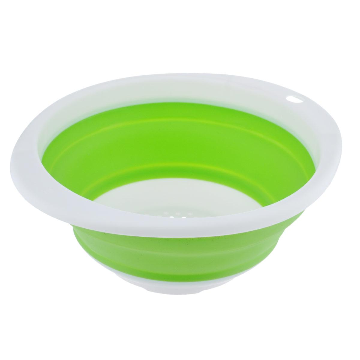 Дуршлаг Идея, складной, цвет: зеленый. CLD-02CLD-02_зеленыйДуршлаг складной Идея, изготовленный из высококачественного пищевого силикона, станет полезным приобретением для вашей кухни. Он идеально подходит для процеживания, ополаскивания и стекания макарон, овощей, фруктов. Нельзя мыть и сушить в посудомоечной машине.Внутренний диаметр: 18 см.Размер (в разложенном виде): 23 см х 20 см х 9 см.Размер (в сложенном виде): 23 см х 20 см х 3 см.