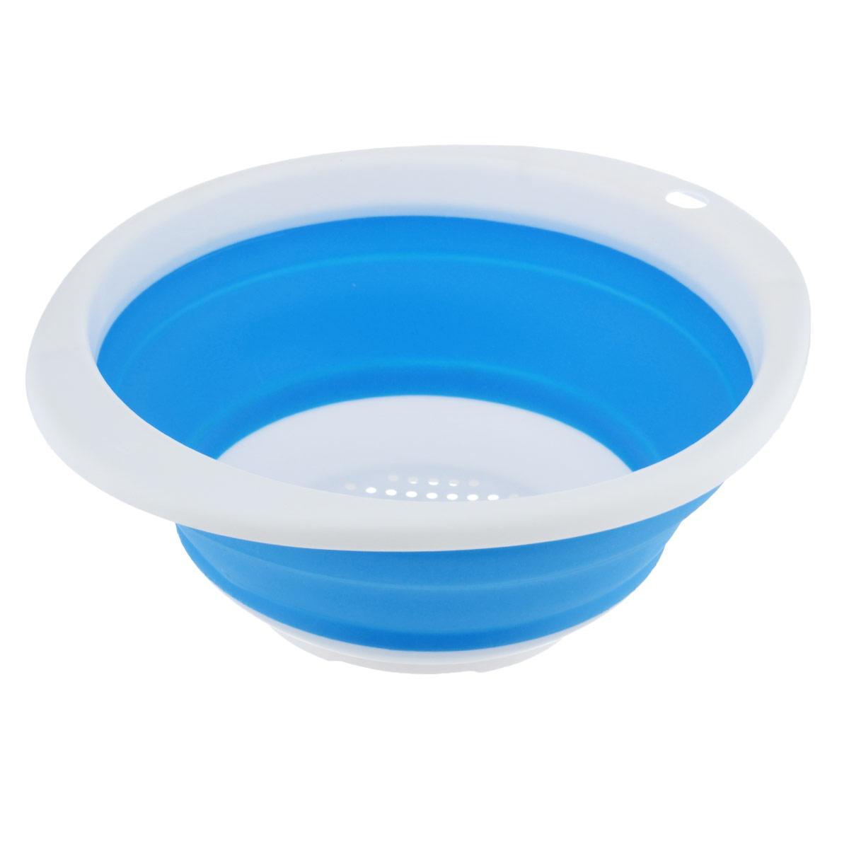 Дуршлаг Идея, складной, цвет: синий. CLD-02CLD-02_синийДуршлаг складной Идея, изготовленный из высококачественного пищевого силикона, станет полезным приобретением для вашей кухни. Он идеально подходит для процеживания, ополаскивания и стекания макарон, овощей, фруктов. Нельзя мыть и сушить в посудомоечной машине.Внутренний диаметр: 18 см.Размер (в разложенном виде): 23 см х 20 см х 9 см.Размер (в сложенном виде): 23 см х 20 см х 3 см.