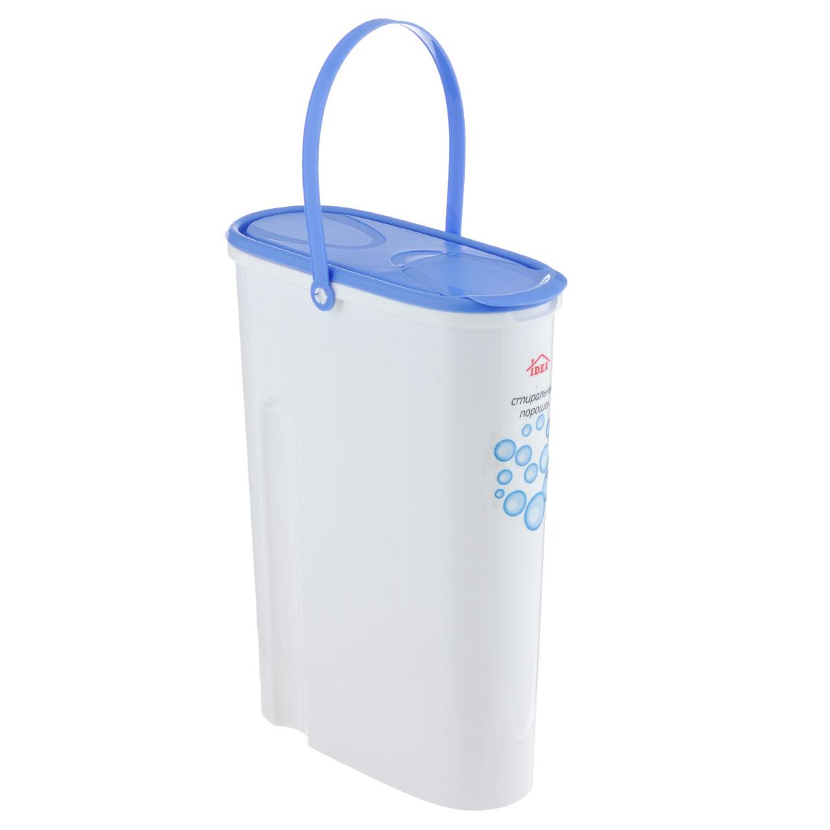 Контейнер для стирального порошка Idea, 5 лМ 1240Контейнер для стирального порошка Idea изготовлен из высококачественного пластика. Специальная удлиненная форма идеально подходит для хранения стирального порошка. Контейнер оснащен яркой, плотно закрывающейся крышкой, которая предотвращает распространение запаха. В крышке есть отверстие, через которое удобно высыпать или засыпать стиральный порошок. Для удобства переноски изделие снабжено прочной ручкой.Объем: 5 л.