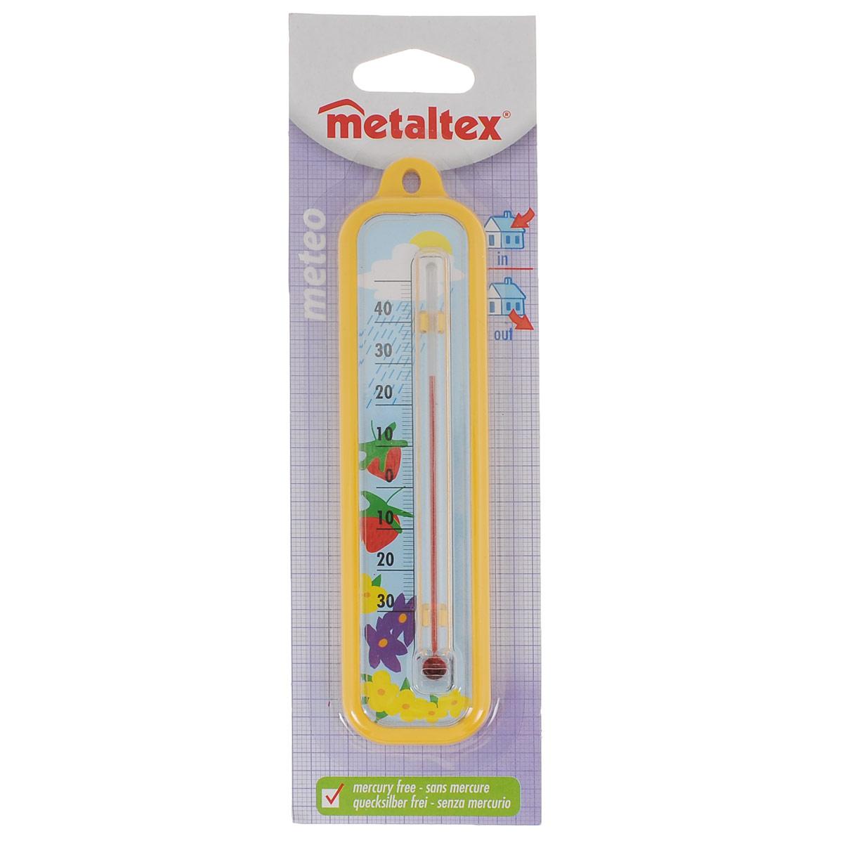 Термометр Metaltex Meteo, цвет: желтый29.80.03Термометр Metaltex Meteo выполнен из пластика и оснащен шкалой с крупными цифрами. Он предназначен для измерения температуры воздуха в помещении.Экологически безопасный термометр - не содержит ртуть.
