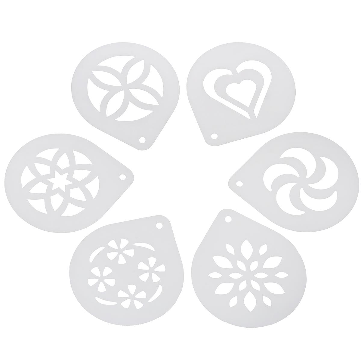 """Трафареты для капучино Tescoma """"My Drink"""" выполнены из высококачественного прочного пластика. В наборе 6 различных трафаретов, которые идеально подходят для стильного украшения пены капучино. Шаблон необходимо поместить чуть выше пены и слегка посыпать корицей или какао. Можно мыть в посудомоечной машине. Размер трафарета: 11,5 см х 10 см."""