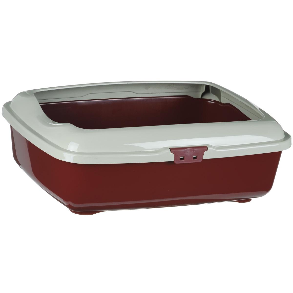 Туалет для кошек Marchioro Goa, с бортом, цвет: бордовый, бежевый, 48,5 см х 36 см х 16 см1066100300099Туалет для кошек Marchioro Goa изготовлен из высококачественного итальянского пластика с полированной поверхностью. Высокий борт, прикрепленный к периметру лотка, удобно защелкивается и предотвращает разбрасывание наполнителя. Благодаря специальным резиновым ножкам туалет не скользит по полу.