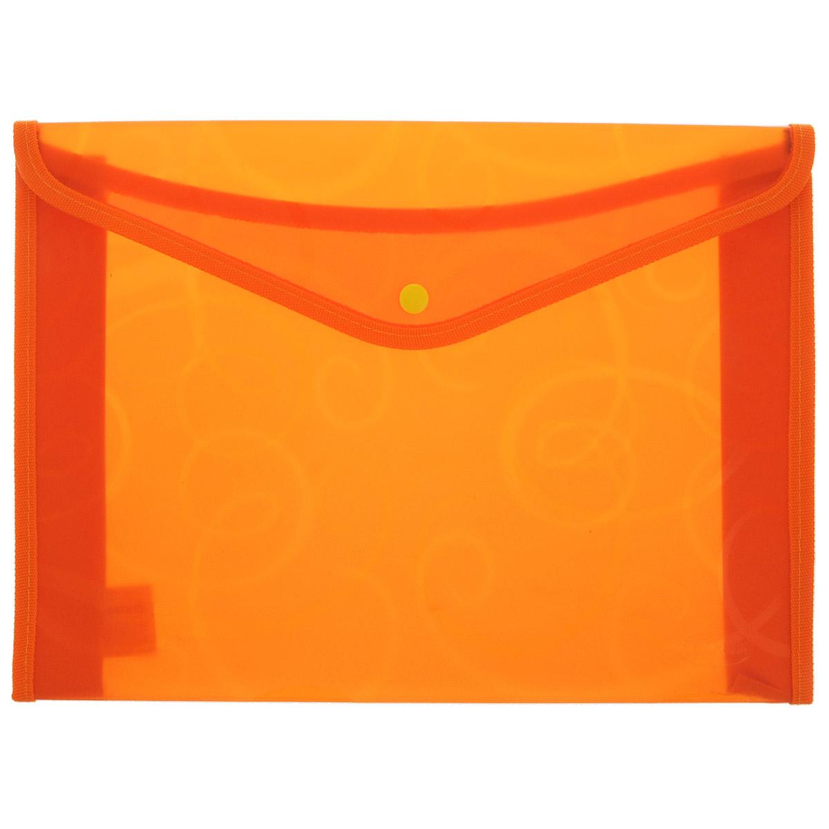 Папка конверт Centrum, на кнопке, цвет: оранжевый, формат А4 папки канцелярские centrum папка регистр а4 5 см фиолетовая