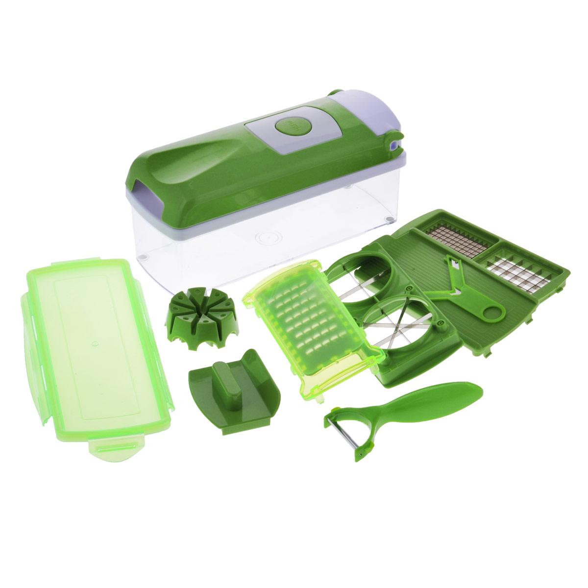 Овощерезка Nicer-Dicer - это многофункциональный прибор, который поможет быстро  нарезать фрукты и овощи.  В комплекте:  - лезвие для нарезки кольцами,  - насадка для нарезания кольцами,  - защитный кожух для насадок,  - профессиональная овощечистка,  - защитное приспособление для удержания продукта,  - устройство для проталкивания продукта,  - вкладыш для нарезки,  - крышка с механизмом измельчения,  - прозрачный контейнер для хранения и сбора объемом 1,5 л.,  - контейнеры для сбора,  - вкладыш для нарезки 2 шт, - книга рецептов.   Такой набор поможет без труда нарезать продукты кубиками, ломтиками или соломкой.   Предметы набора можно мыть в посудомоечной машине.  Размер контейнера: 27 см х 10 см х 8 см. Длина овощечистки: 15 см. Длина лезвия овощечистки: 5 см.