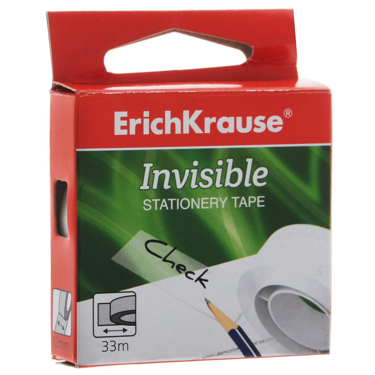 Клейкая лента Erich Krause Invisible, цвет: белый36924Клейкая лента Erich Crause Invisible - универсальный помощник в доме и офисе. Лента предназначена для склеивания документов, упаковки, картона, имеет сильный клеящий состав. Матовая поверхность позволяет писать на ней.Ширина ленты: 12 мм.