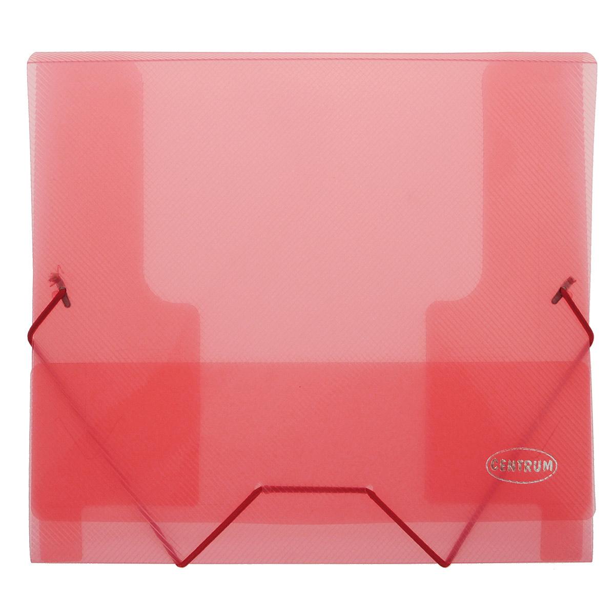 Папка-конверт на резинках Centrum, формат А5, цвет: красный80800 красныйПапка-конверт на резинке Centrum - это удобный и функциональный офисный инструмент, предназначенный для хранения и транспортировки рабочих бумаг и документов формата А5.Папка с двойной угловой фиксацией резиновой лентой изготовлена из износостойкого полупрозрачного полипропилена.Внутри папка имеет три клапана, что обеспечивает надежную фиксацию бумаг и документов. Оформлена тиснением в виде параллельной штриховки. Папка - это незаменимый атрибут для студента, школьника, офисного работника. Такая папка надежно сохранит ваши документы и сбережет их от повреждений, пыли и влаги.
