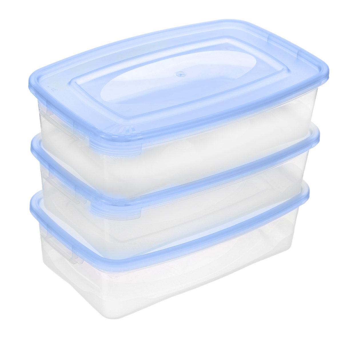 Набор контейнеров Полимербыт Каскад, цвет: голубой, 700 мл, 3 штС54001_голубойНабор контейнеров Полимербыт Каскад изготовлен из высококачественного прочного пластика, устойчивого к высоким температурам. Стенки контейнера прозрачные, что позволяет видеть содержимое. Цветная полупрозрачная крышка плотно закрывается. Контейнер идеально подходит для хранения пищи, его удобно брать с собой на работу, учебу, пикник или просто использовать для хранения пищи в холодильнике.Можно использовать в микроволновой печи при температуре до +120°С (при открытой крышке) и для заморозки в морозильной камере при температуре до -40°С. Можно мыть в посудомоечной машине.Комплектация: 3 шт.