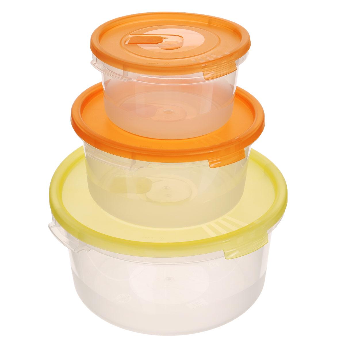 Набор контейнеров Полимербыт Смайл, с клапаном, цвет: желтый, оранжевый, 3 штС52203_желтый, оранжевыйНабор контейнеров Полимербыт Смайл круглой формы, изготовленный из прочного пластика,предназначен специально для хранения пищевых продуктов.Каждый контейнер оснащен герметичной крышкой со специальным клапаном, благодаря которомувнутри создается вакуум, и продукты дольше сохраняют свежесть и аромат. Крышка легкооткрывается и плотно закрывается. Стенки контейнера прозрачные - хорошо видно, что внутри. Контейнер устойчив к воздействию масел и жиров, легко моется. Подходит для использования вмикроволновых печах при температуре до +100°С, выдерживает хранение в морозильной камерепри температуре -40°С, его можно мыть в посудомоечной машине. Объем: 0,4 л; 0,8 л; 1,6 л. Диаметр: 12 см; 15 см; 20 см.Высота стенки (без учета крышки): 6 см; 7 см; 9 см.