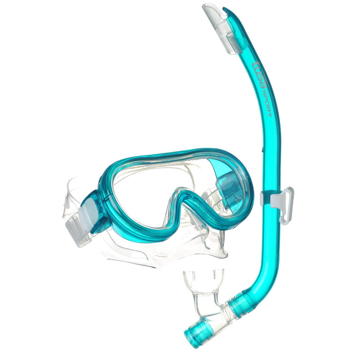 Комплект детский для плавания Tusa Sport UCR1214 CGR, (маска+трубка), цвет: бирюзовыйTS UC1214 CGRКомплектTusa Elite Mini-Platina состоит из маски и трубки. Однолинзовая маска с маленьким подмасочным объемом, увеличенным полем зрения, регулируемым ремешком с пряжками, линзой из закаленного стекла ClearVu, ремешком и обтюратором из гипоаллергенного силикона. Трубка оснащена запатентованной технологией Tusa Hyperdry, защищающей трубку от попадания воды, дренажной камерой и стравливающим клапаном для легкой очистки трубки от воды, а гофрированный сегмент и загубник выполнены из прозрачного гипоаллергенного силикона.Комплект Tusa Elite Mini-Platina станет прекрасным дополнением к ластам UF-14Z или UF-21. Подходит для детей 6-12 лет. Характеристики: Материал: поликарбонат, силикон, стекло. Размер маски: 15 см х 8 см. Длина трубки: 38 см. Размер упаковки: 45 см х 20 см х 8 см. Изготовитель: Тайвань.