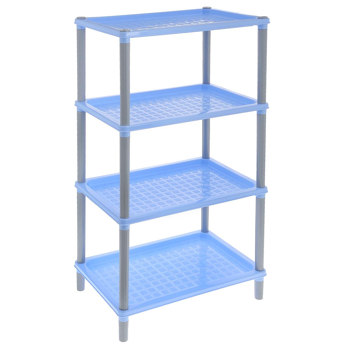 Этажерка Бытпласт Флавия, 4-секционная, цвет: голубой, 42 х 29 х 81 см157782_голубойЭтажерка Бытпласт Флавия выполнена из высококачественного прочного пластика. Этажерка содержит 4 полки для хранения различных бытовых предметов, посуды, продуктов, ванных принадлежностей и т.д. Очень удобная и компактная, но в тоже время вместительная, такая этажерка прекрасно впишется в пространство любого помещения. Ее можно поставить в прихожую, в ванную, в комнату или на кухню. Она поможет легко организовать пространство и хранить ваши вещи в порядке. Легко собирается и разбирается.Размер этажерки (ДхШхВ): 42 х 29 х 81 см. Размер полки (ДхШхВ): 42 х 29 х 3,5 см.