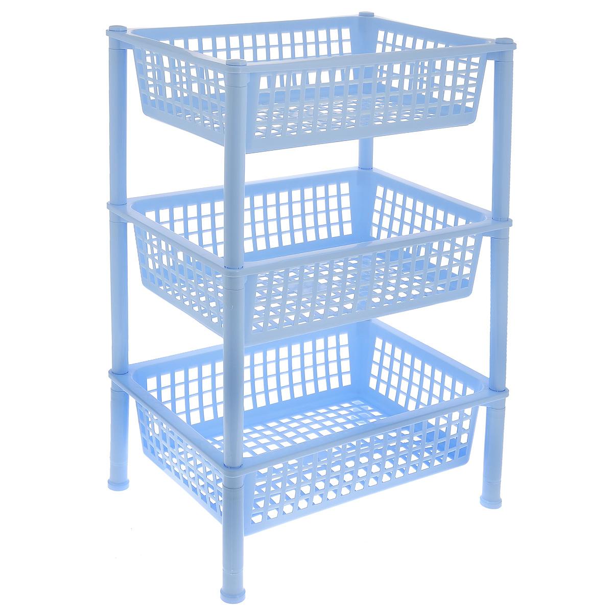 Этажерка для овощей Idea, 3-ярусная, цвет: голубой, 43,8 х 30,8 х 69,2 смМ 2730Прямоугольная этажерка Idea с 3 полками выполнена из пластика и предназначена дляхранения различных предметов на кухне, в ванной или в прихожей. На кухне в ней можнохранитьовощи и фрукты, в ванной - различные ванные принадлежности, в прихожей и комнате -сумки иаксессуары.Очень удобная и компактная, но в тоже время вместительная, она прекрасно впишется впространство любого помещения. Этажерка придется особенно кстати, если у васнебольшаяванная или кухня: она займет минимум пространства. Легко собирается и разбирается.Размер этажерки (ДхШхВ): 43,8 х 30,8 х 69,2 см.Размер корзинки (ДхШхВ): 43,8 х 30,8 х 12 см.
