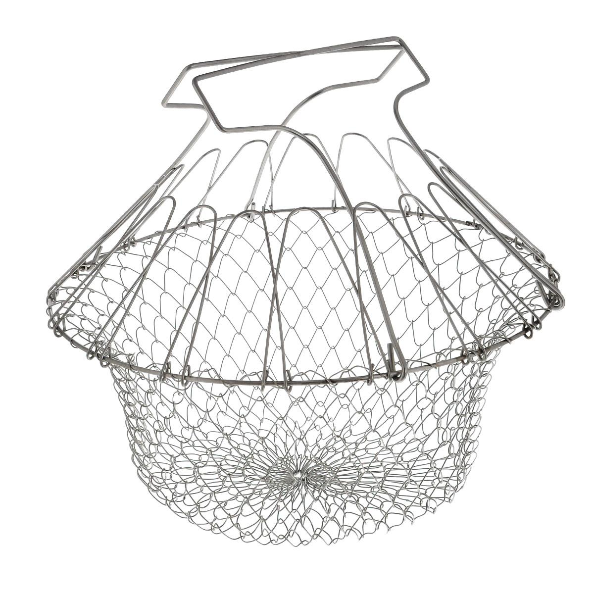 Решетка для приготовления пищи Bradex Chef Basket, складнаяTK 0143Решетка Bradex Chef Basket изготовлена из высококачественной нержавеющей стали. Это совершенно удивительное устройство со множеством функций заменит собой пароварку, жаровню, дуршлаг и прочую кухонную утварь значительного размера. Форма для варки и жарки - с поднятыми ручками решетка позволяет вам сложить в нее ингредиенты, и варить прямо в кастрюле. Идеальный вариант для варки яиц, макарон, пельменей и других продуктов. После окончания варки вы просто вынимаете решетку из кастрюли, в которой и остается вся вода! Таким же образом вы сможете пожарить картофель фри или рыбу в кляре. Диаметр: 23 см. Размер (в собранном виде): 24 см х 22,5 см х 29 см.Размер (в разобранном виде): 23 см х 23 см х 2 см.