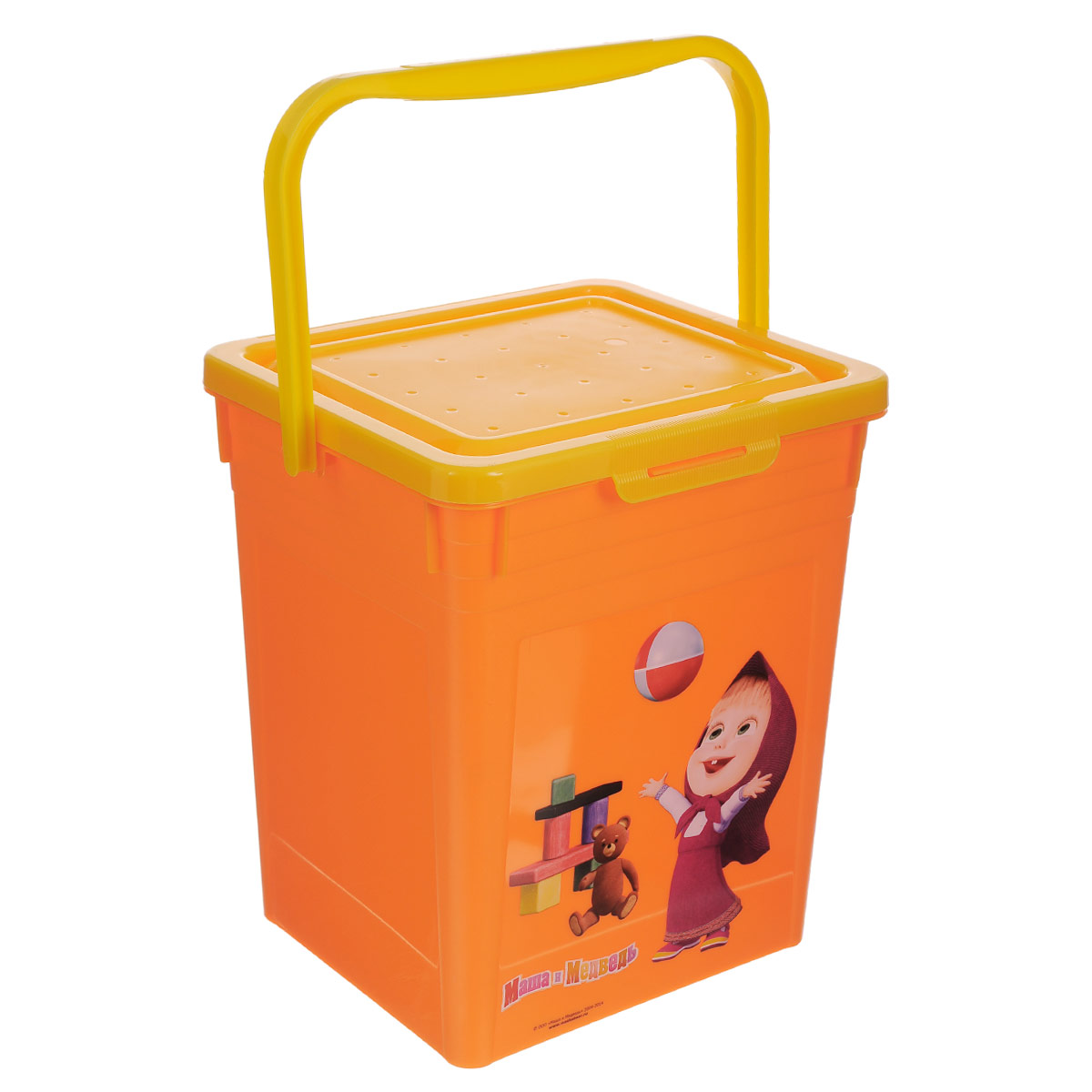 Контейнер для игрушек Бытпласт Маша и медведь, цвет: оранжевый, 23,5 х 20,5 х 25,2 смС13002Контейнер Бытпласт Маша и медведь выполнен из высококачественного полипропилена и предназначен для хранения небольших игрушек. Не содержит бисфенол А. Контейнер декорирован красочным изображением героя мультика Маша и медведь. Для удобства переноски имеется специальная пластиковая ручка. Контейнер плотно закрывается крышкой. Контейнер Маша и медведь очень вместителен и поможет вам хранить все необходимые мелочи в одном месте.