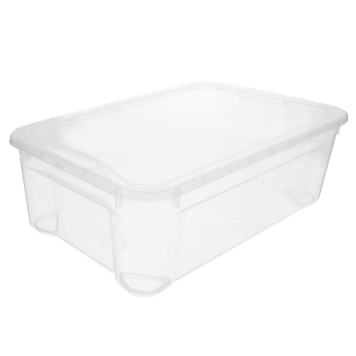Ящик универсальный Econova Кристалл, 55,5 см х 39 см х 19 смС12659Прямоугольный ящик Econova Кристалл выполнен из высококачественного прозрачного полипропилена. Ящик плотно закрывается крышкой и оснащен ручками. Ящик Econova Кристалл очень вместителен и поможет вам хранить все необходимые мелочи в одном месте.