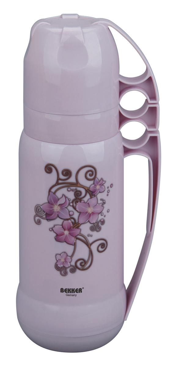 Термос BK-4330 1л.BK-4330Объем - 1л., колба стеклянная, чашка 2шт., ручка ( голубой, розовый). Состав: пластмасса
