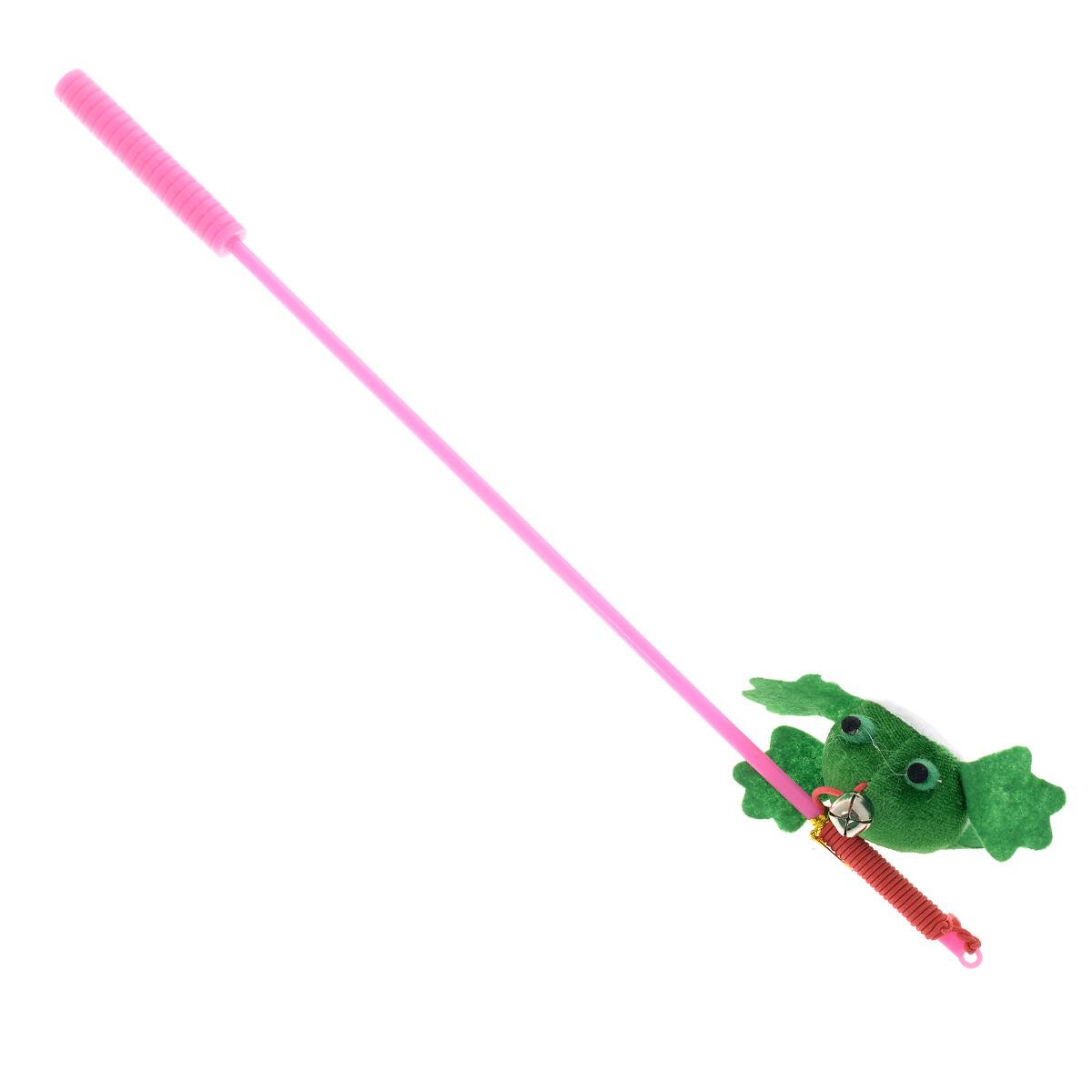 Игрушка для кошек V.I.Pet Дразнилка-удочка с лягушкой, с колокольчиком, цвет: розовый, зеленый, длина 37 смST-105_розовый, зеленыйИгрушка для кошек V.I.Pet Дразнилка-удочка с лягушкой, изготовленная из текстиля, синтепона и пластика, прекрасно подойдет для веселых игр с вашим пушистым любимцем. Играя с этой забавной дразнилкой, маленькие котята развиваются физически, а взрослые кошки и коты поддерживают свой мышечный тонус. Яркая игрушка на конце удочки оснащена колокольчиком и сразу привлечет внимание вашего любимца, не навредит здоровью и увлечет его на долгое время. Длина удочки: 37 см.Размер игрушки: 7,5 х 4 х 2,5 см.