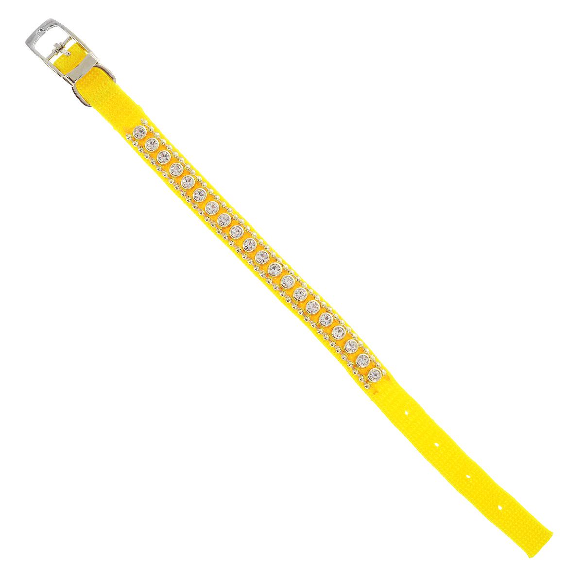 Ошейник Pet Line для животных, со стразами, цвет: желтый, длина 24,5 см pet line фурминатор большой 79 зубьев