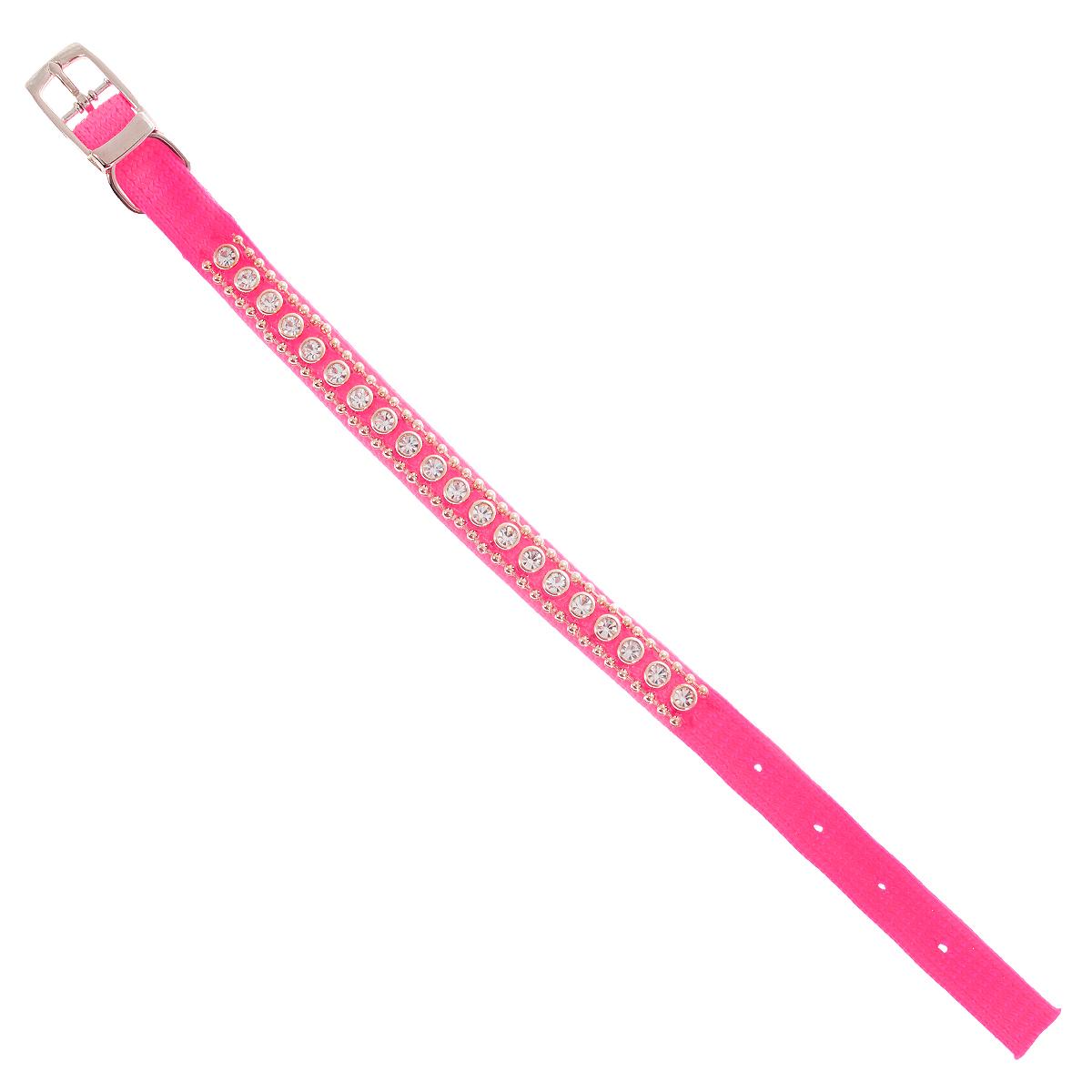 Ошейник Pet Line для животных, со стразами, цвет: розовый, длина 24,5 см pet line фурминатор большой 79 зубьев