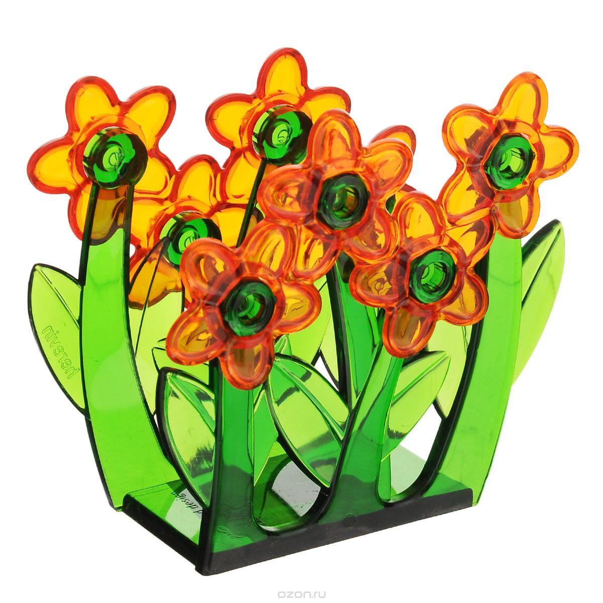 """Салфетница """"Herevin"""", изготовленная из высококачественного прочного пластика, оформлена декоративными цветами. Яркий и оригинальный дизайн, несомненно, придется вам по вкусу. Такая салфетница великолепно украсит праздничный стол."""