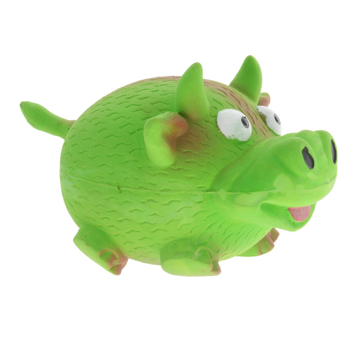 Игрушка для собак V.I.Pet Кабанчик, цвет: зеленыйL-142Игрушка V.I.Pet Кабанчик изготовлена из латекса с использованием только безопасных, не токсичных красителей. Великолепно подходит для игры и массажа десен вашей собаки.Забавный кабанчик при надавливании или захвате пастью пищит. Такая игрушка порадует вашего любимца, а вам доставит массу приятных эмоций, ведь наблюдать за игрой всегда интересно и приятно. Оставшись в одиночестве, ваша собака будет увлеченно играть в эту игрушку.