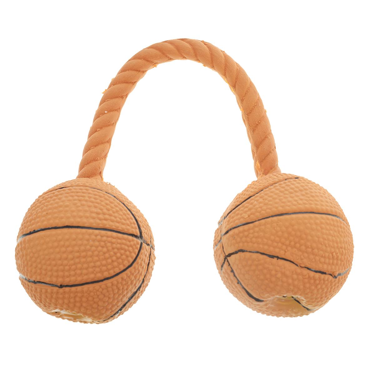Игрушка для собак V.I.Pet Гантель баскетбольная, цвет: коричневыйL-118Игрушка V.I.Pet Баскетбольная гантель изготовлена из латекса с использованием только безопасных, не токсичных красителей. Великолепно подходит для игры и массажа десен вашей собаки.Гантель при надавливании или захвате пастью пищит. Такая игрушка порадует вашего любимца, а вам доставит массу приятных эмоций, ведь наблюдать за игрой всегда интересно и приятно. Оставшись в одиночестве, ваша собака будет увлеченно играть в эту игрушку.Диаметр мяча: 6,5 см.