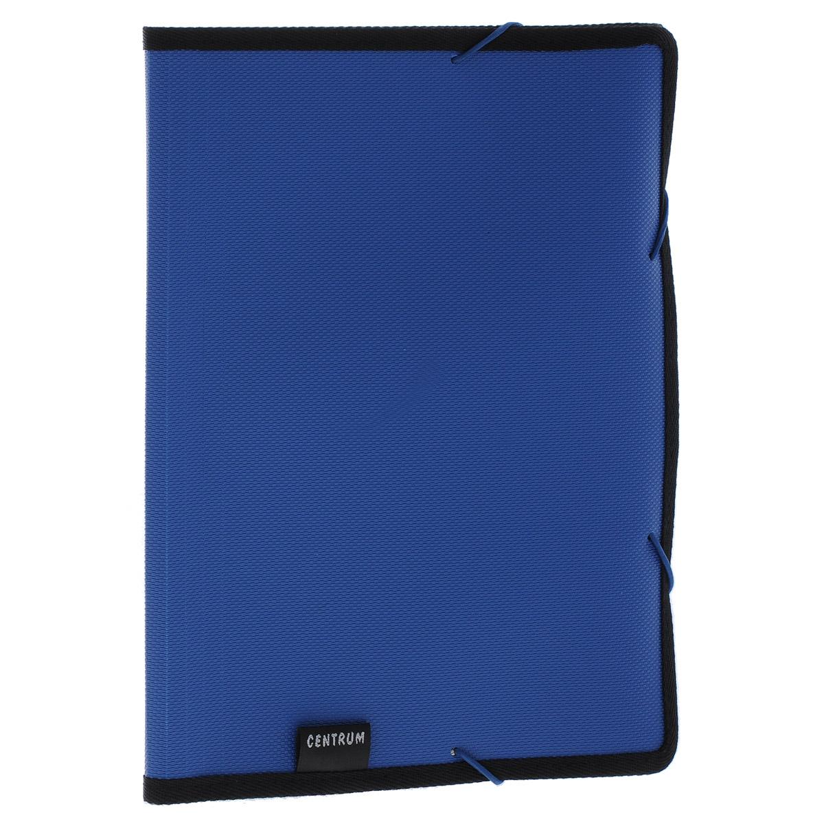 Папка на резинке Centrum, 6 отделений, цвет: синий. Формат А480017_сПапка Centrum - это удобный и функциональный офисный инструмент, предназначенный для хранения и транспортировки рабочих бумаг и документов формата А4.Папка с двойной угловой фиксацией резиновой лентой изготовлена из прочного высококачественного пластика и оформлена тиснением под текстиль. Папка состоит из 6 вместительных отделений с пластиковыми разделителями. Папка имеет опрятный и неброский вид. Края папки отделаны полиэстером, а уголки имеют закругленную форму, что предотвращает их загибание и помогает надолго сохранить опрятный вид обложки.Папка - это незаменимый атрибут для любого студента, школьника или офисного работника. Такая папка надежно сохранит ваши бумаги и сбережет их от повреждений, пыли и влаги.