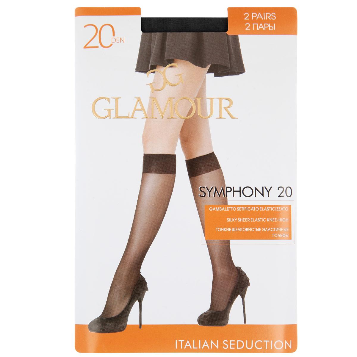 Гольфы женские Glamour Symphony 20, 2 пары, цвет: Nero (черный). Размер универсальныйSymphony 20 GB*2Тонкие шелковистые эластичные гольфы с мягкой комфортной резинкой и укрепленным мыском. В комплекте 2 пары.Плотность 20 Ден.
