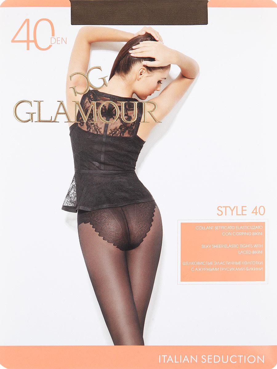 Колготки Glamour Style 40, цвет: Daino (загар). Размер 3Style 40Шелковистые эластичные колготки с ажурными трусиками-бикини. Комфортный пояс, гигиеническая ластовица, прозрачный укрепленный мысок.Плотность: 40 den.