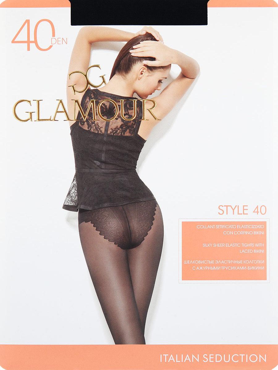 Колготки Glamour Style 40, цвет: Nero (черный). Размер 2Style 40Шелковистые эластичные колготки с ажурными трусиками-бикини. Комфортный пояс, гигиеническая ластовица, прозрачный укрепленный мысок.Плотность: 40 den.