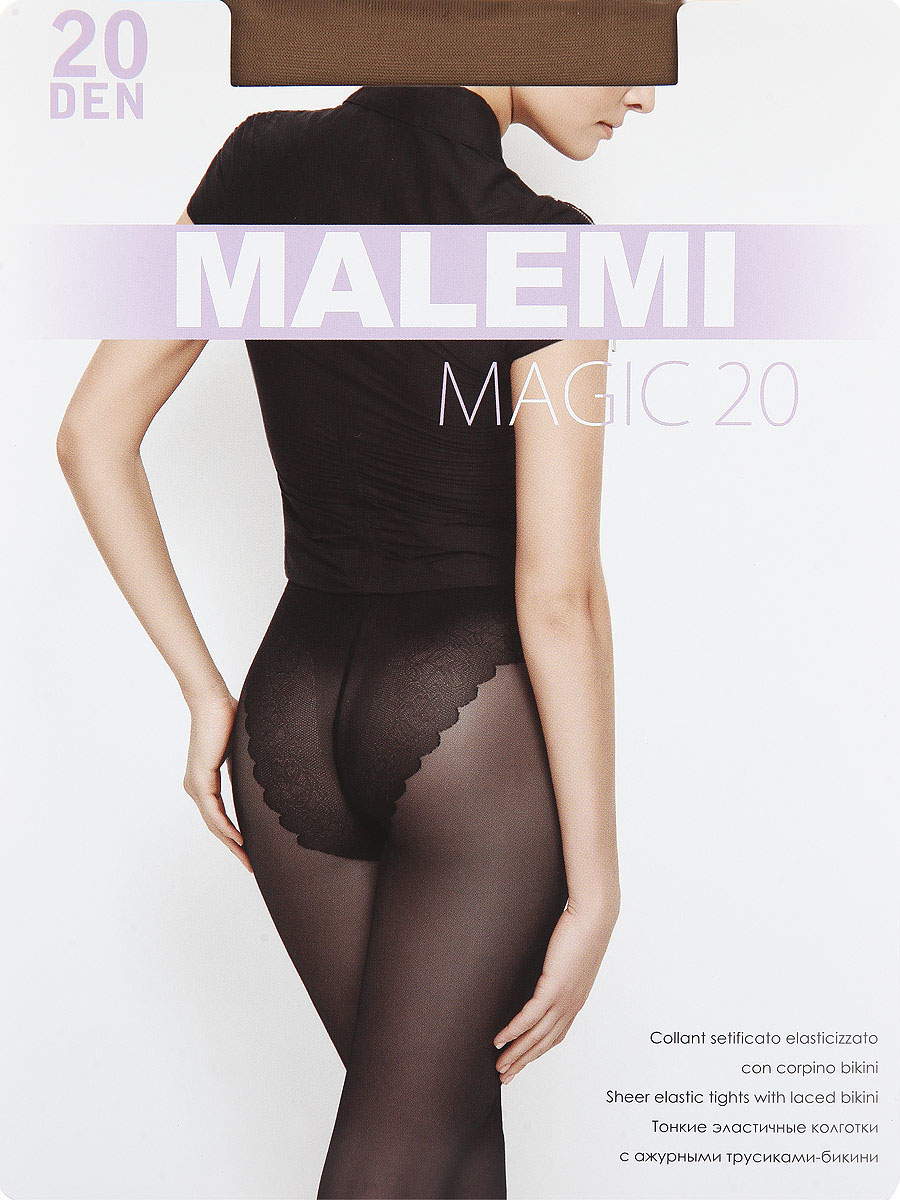 Колготки Malemi Magic 20, цвет: Daino (загар). Размер 4Magic 20Тонкие эластичные колготки с ажурными трусиками-бикини. Комфортный пояс, гигиеническая ластовица, укрепленный прозрачный мысок.Плотность: 20 den.