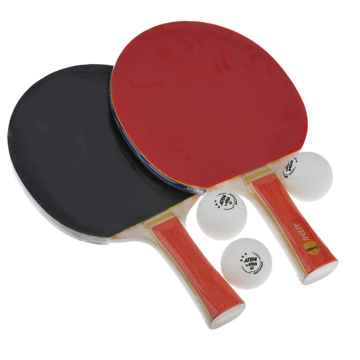 """Набор для настольного тенниса Atemi """"Glory"""" включает в себя 2 ракетки и 3 белых мячика, предназначен для тренировок. Ракетки выполнены из пятислойной фанеры и оснащены накладками из резины толщиной 1,8 мм. Анатомическая рукоятка эргономичной формы специально разработана для надежного хвата и комфортной игры. Хороший контроль, отличные игровые характеристики, высокая скорость игры. Настольный теннис - спортивная игра, основанная на перекидывании мяча ракетками через игровой стол с сеткой, цель которой  - не дать противнику отбить мяч.  Игра в настольный теннис развивает концентрацию, внимание, ловкость и координацию. Длина ракетки: 25 см. Диаметр шара: 4 см."""
