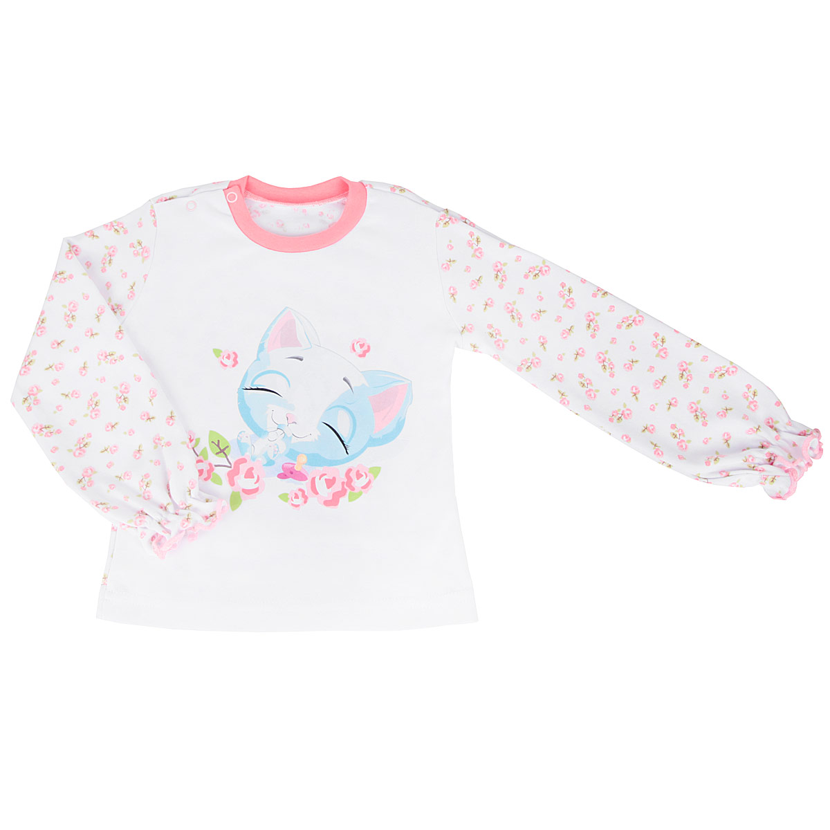 Кофточка для девочки КотМарКот, цвет: белый, лососевый. 3766. Размер 68, 3-6 месяцев распашонка для девочки котмаркот дрим цвет розовый белый 4270 размер 68 3 6 месяцев