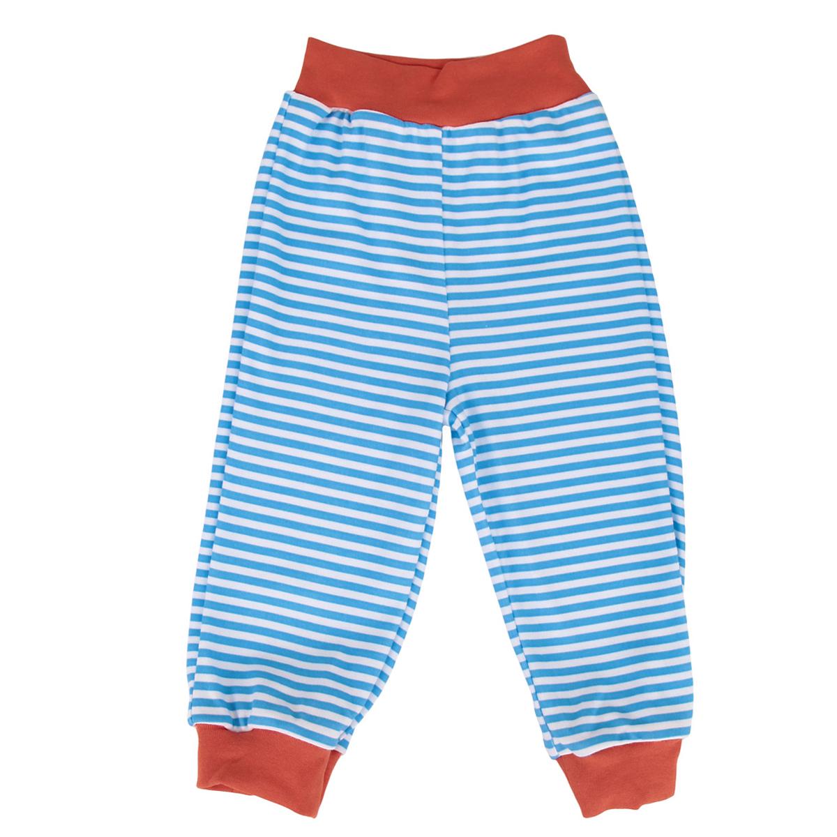 Штанишки на широком поясе для мальчика КотМарКот, цвет: голубой, белый, оранжевый. 3561. Размер 74, 6-9 месяцев брюки котмаркот штанишки сердечко