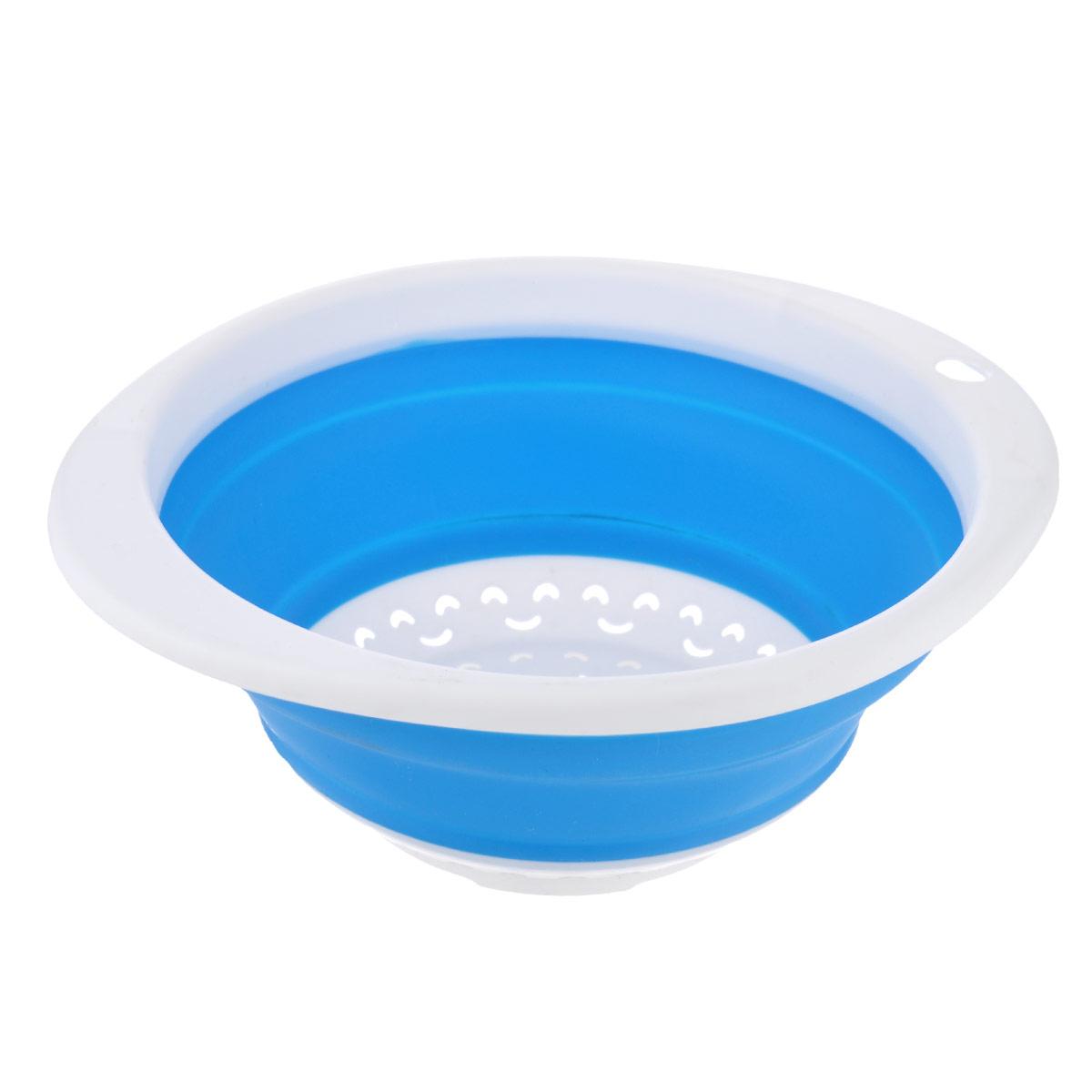 Дуршлаг складной Oriental Way, цвет: голубой, 23 х 21 см8863_голубойСкладной дуршлаг Oriental Way станет полезным приобретением для вашейкухни. Он изготовлен из высококачественного пищевого силикона и пластика.Дуршлаг оснащен двумя удобными ручками. Одна ручка снабжена специальнымотверстием для подвешивания. Изделие прекрасно подходит для процеживания,ополаскивания и стекания макарон, овощей, фруктов. Дуршлаг компактноскладывается, что делает его удобным для хранения. Можно мыть в посудомоечной машине. Размер (по верхнему краю): 23 см х 21 см. Внутренний диаметр: 18,5 см. Максимальная высота: 9 см. Минимальная высота: 3 см.