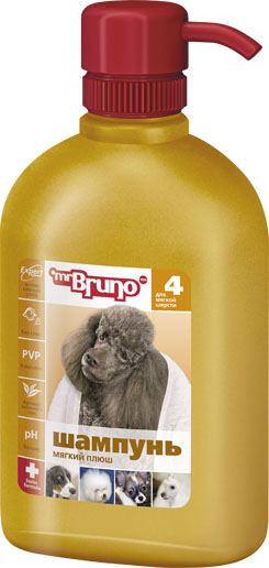 Шампунь-кондиционер для собак Mr. Bruno Мягкий плюш, для мягкой шерсти, 350 мл mr bruno mr bruno спрей репеллентный бережная защита для собак