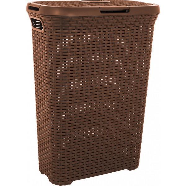 Корзина для белья РАТТАН, цвет: коричневый, 40 л корзина для белья curver natural style цвет коричневый 40 л