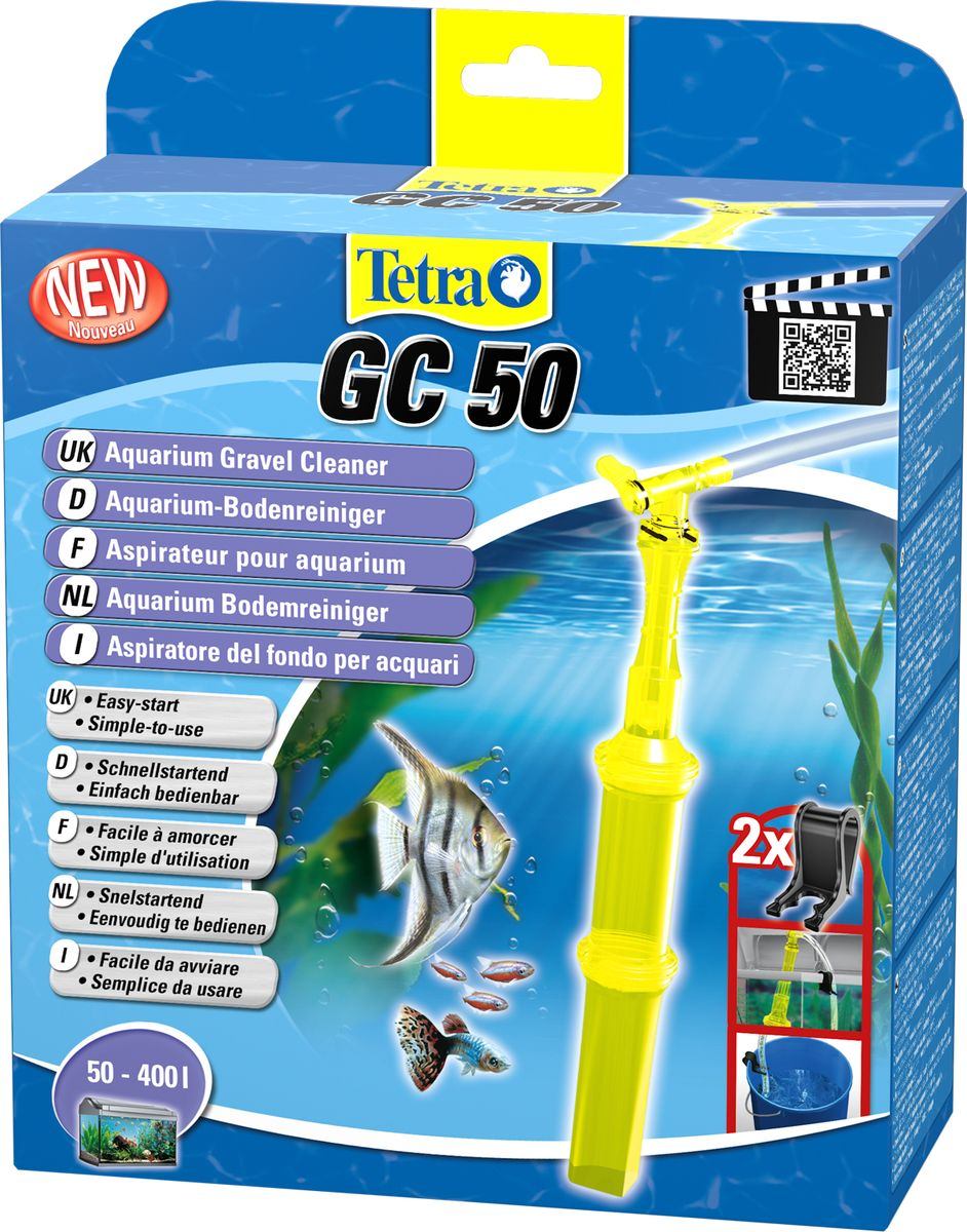 Грунтоочиститель для аквариумов Tetra GC 50 большой, 50-400 л762336Удобный, простой в использовании сифон для грунта.В комплект входит шланг длиной 180 см и две фиксирующие клипсы;Мощный клапан закачки воды;Защитная сетка позволяет избежать засасывания рыб и грунта;Новая поворотная ручка позволяет использовать сифон без перекручивания шланга;Конструкция наконечника позволяет очистку всех труднодоступных углов аквариума, в том числе, возле стекла;Удобная ручка для безопасного использования;Долгая эксплуатация.Гарантия 2 года.